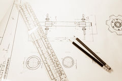 Drawing of the drive shaft Stock Photography