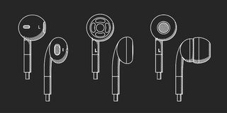 Drawing of earphones. The drawing of earphones against the background of Royalty Free Stock Images