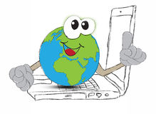 Drawing An Earth globe as the world on your laptop computer keyb Stock Photography