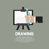 Drawing On Easel With Pencil. Vector Illustration Stock Image