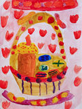 Drawing of Easter still life basket with bread and eggs. Bright drawing of Easter still life basket with Easter bread and eggs Royalty Free Stock Images