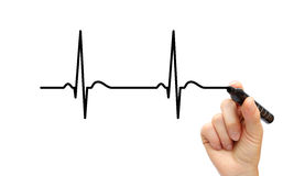 Drawing ECG. Hand drawing ECG line with pen stock images
