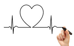 Drawing ECG line. Health heart heartbeat hospital stock images