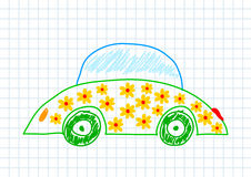 Drawing of ecological car Stock Photography