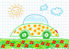 Drawing of ecological car Royalty Free Stock Images