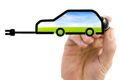 Drawing electric car on virtual board stock photography