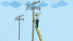 Drawing electrician work hard. Blue background Stock Photo