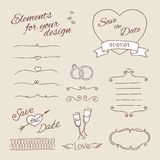 Drawing elements for design. wedding Royalty Free Stock Photo