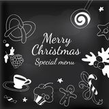 Drawing elements frame for Xmas blackboard Royalty Free Stock Photography