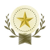 Drawing emblem star win leaves olive blank Stock Image