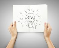 Drawing emotion boy Stock Photography