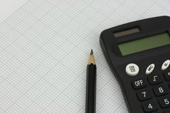 Drawing equipment and calculator Royalty Free Stock Image
