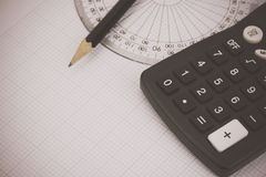 Drawing equipment and calculator Royalty Free Stock Photos