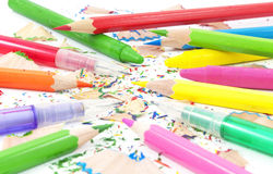 Drawing equipment for children in school. Colorful pencils,crayons and black lead pencils Royalty Free Stock Image