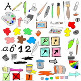 drawing equipment and Icons Royalty Free Stock Image