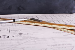 Drawing equipment on plans for making a model aircraft Royalty Free Stock Images