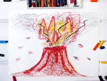 Drawing: erupting volcano. Photo of a colorful drawing: erupting volcano Stock Image