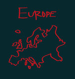 Drawing of Europe. Illustration of vector drawing of Europe Stock Photos