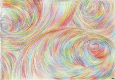 Swirls of time. Drawing is executed by multi-color pencils on paper.The image size is about A4 Stock Photography