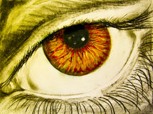 Drawing of eye with orange pupil Royalty Free Stock Photo