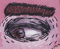 Drawing of an eye on pink face. Closeup Stock Image
