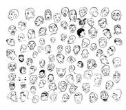 Drawing of face with many emotion Royalty Free Stock Photo