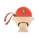 Drawing face pirate red bandanna corsair bones. Illustration eps 10 Stock Photography