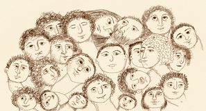 Drawing of Faces Royalty Free Stock Image
