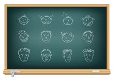 Drawing faces by a chalk Stock Photo