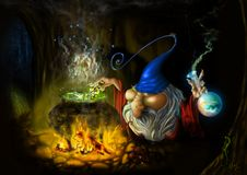 Drawing fairy sly wizard in cave. Hand draw illustration of old funny wizzard for halloween Royalty Free Stock Photography