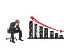 Drawing falling graph Stock Photos
