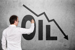 Drawing falling oil chart Royalty Free Stock Photo