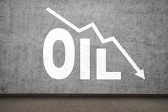 Drawing falling oil chart Stock Photography