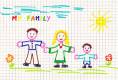 Drawing of family. Child's drawing of family - dad, mom and son outdoor Royalty Free Stock Photography