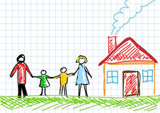 Drawing of family. With house Royalty Free Stock Photo