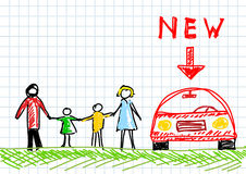 Drawing of family. With new car Stock Photos
