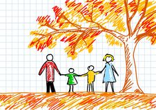 Drawing of family vector illustration