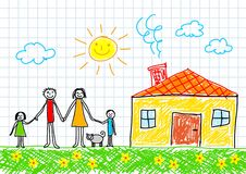 Drawing of family. With yellow house Stock Photo