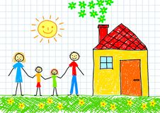 Drawing of family. With yellow house Stock Photography