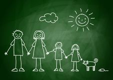 Drawing of family. On blackboard Stock Images