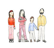 Drawing family Royalty Free Stock Photography