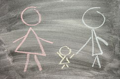 Drawing of family on blackboard Stock Image