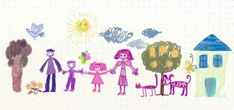 Drawing of family with cat and dog Stock Photo