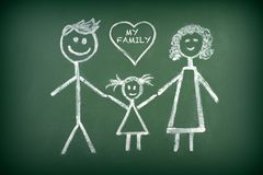 Drawing of family. Drawing of family with chalk on blackboard Royalty Free Stock Image