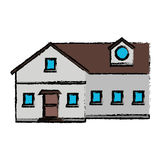 Drawing family house exterior concept Stock Photography