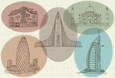 Drawing of the famous buildings in the world Stock Photos