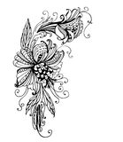 Drawing fantastic flower garland   illustration Royalty Free Stock Photos
