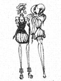 Drawing fashion girls Royalty Free Stock Photography