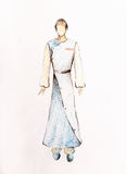 Drawing fashion male clothes, color pencil sketch on paper. Stock Image