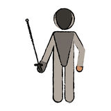 Drawing fencing player sport athlete Royalty Free Stock Image